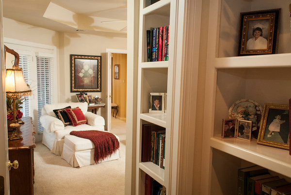 A seating area in the master suite offers a quiet corner to curl up with a book.