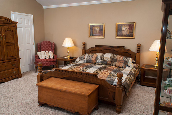 The master bedroom is roomy.