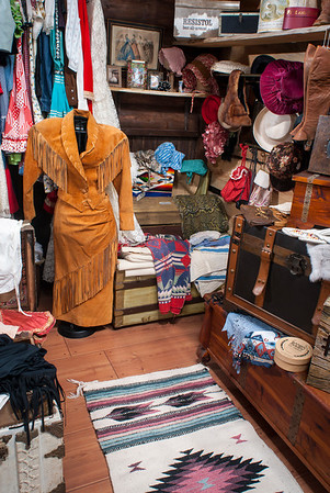 Plenty of finery to outfit an Old West woman is offered in the general store.