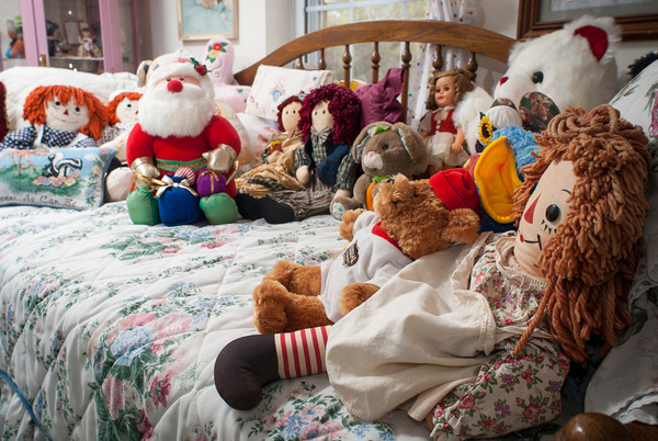 Raggedy Ann and Andy in a variety of shapes and sizes join a collection of other dolls, including Santa, in the toy room.