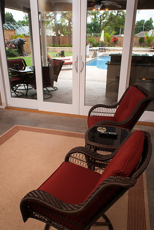 On hot afternoons, the pool house offers a place to relax and escape the heat between bouts in the pool.