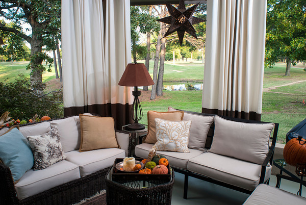 Holly Berry has created an outdoor room on her back porch that overlooks Cherry Springs Golf Course. Berry says she created the space as a retreat that feels like getting away to a spa.