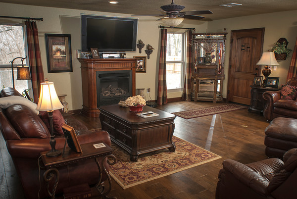 The Wright's living room is comfortable and roomy.