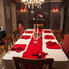 The dining room in the Halbrook home is elongated and centers on a lengthy dining table.