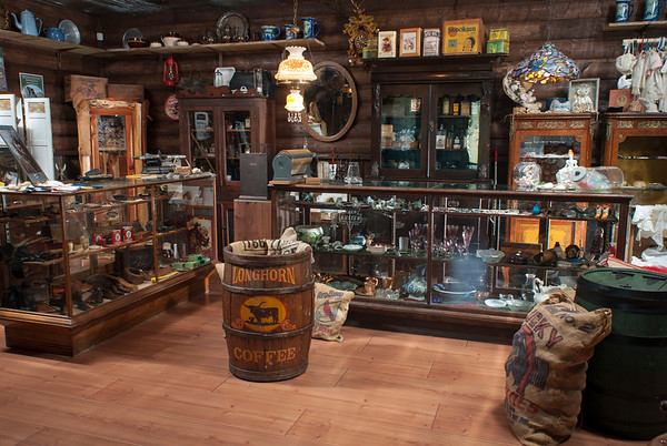 "The Longhorn Mercantile, A Place of Supply, boasts ""elixirs, millinery, haberdasher, clothing, firearms, ammo, footwear and dry goods."""