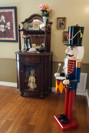 A large nutcracker greets visitors near the entrance of the Johnson home.