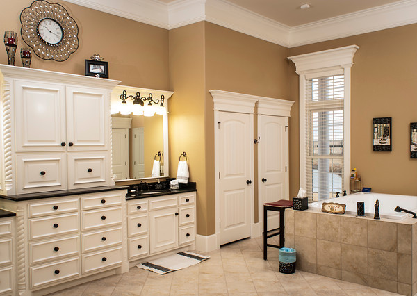 The master bath encloses as much space as many living rooms and offers the largest whirlpool bathtub that can be found on the market