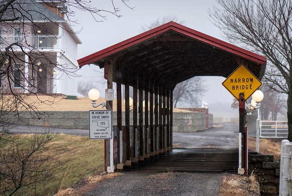 This covered bridge spans what was a trestle on the historic Midland Valley Railroad. Bill Inhofe dedicated the bridge to the memory of Oklahoma Highway Patrol Trooper Steven Smith, who died from a gunshot wound he sustained while struggling with a suspect.