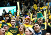Students cheer at the Mason Homecoming 2012 basketball game at the Patriot Center, Fairfax Campus. Photo by Alexis Glenn/Creative Services/George Mason University