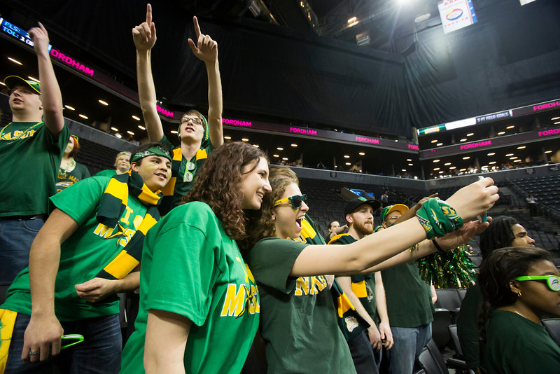 George Mason Patriots play against Fordham Rams in the Opening Round of the 2014 Atlantic 10 Men's Basketball Championship at the Barclays Center in Brooklyn, NY. Photo by Craig Bisacre/Creative Services/George Mason University