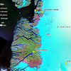 Map of the region and some of the features that we surveyed during the flight tests. The map is compiled from several Landsat 7 ETM+ false color images. You can see the blue meltwater ponds (lakes) on the surface along the edge of the Greenland ice cap and the runoff of meltwater into the fjords.