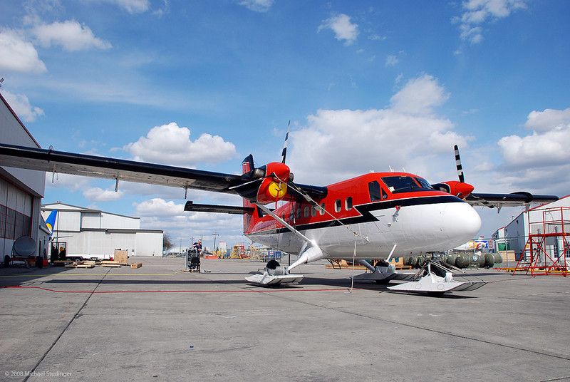 The survey aircraft C-FSJB outside the Kenn Borek hangar in Calgary shortly after it arrived.