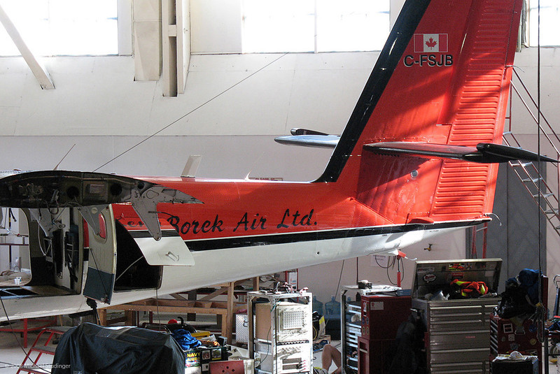 The DHC-6 Twin Otter C-FSJB inside the Kenn Borek hangar in Calgary. Two of our racks with equipment are ready to be installed in the aircraft. The wingtips are being modified to mount the magnetometer pods.