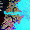 A closeup of the Ilulissat Icefjord and Jakobshaven Glacier seen from space. Compare some of the spectacular views in the following pictures to what you can see in this satellite image from the Year 2000.