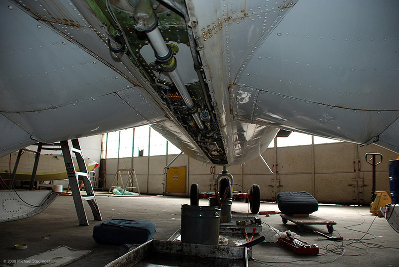 The belly of the beast. Routine maintenance work on the fuel tanks and fuel system during our installation.