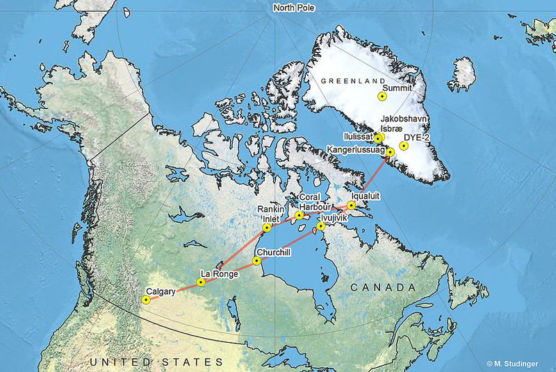 The route from Calgary to Kangerlussuaq, Greenland.