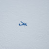Flying over the vast expanses of a continental ice sheet.