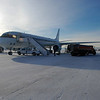 The NASA DC-8 on the ramp at Thule Air Base after a science flight. We are collecting GPS data for one hour after the flight before the aircraft can be pulled into the hanger.