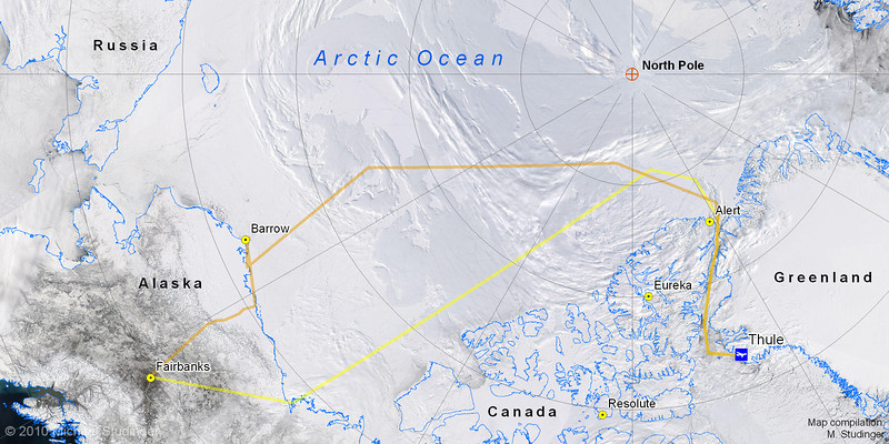 True color MODIS satellie image mosaic of the Arctic Ocean. We use these satellite images from NASA's Aqua satellite to assess the weather conditions along the flight route for the next morning.