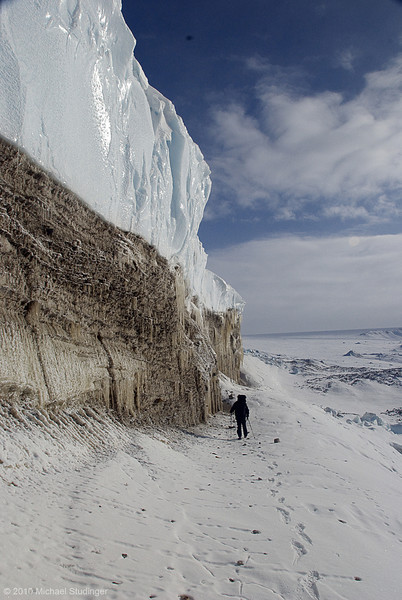 Ice wall of the Great Land Gletscher near Thule, Greenland.