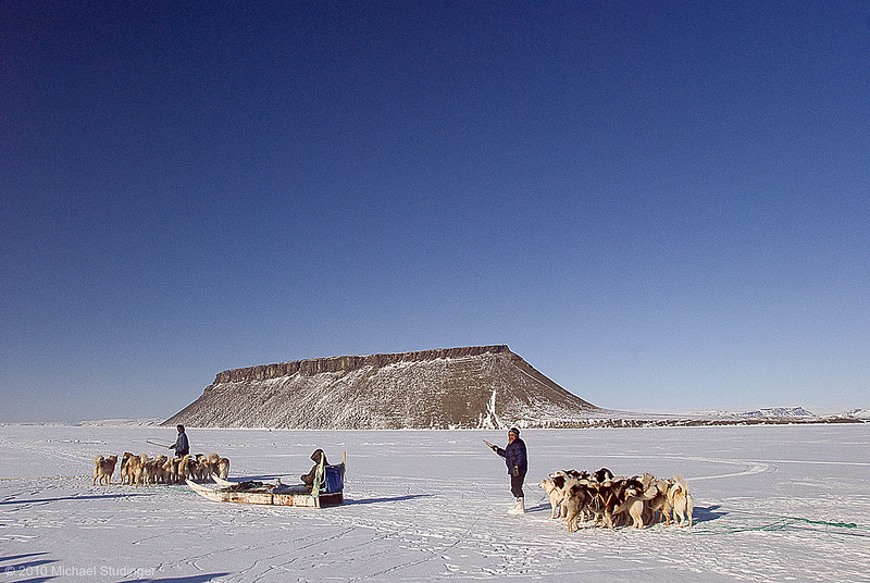 Start of the dog sled race in Thule, Greenland. Dundas Mountain in the back.