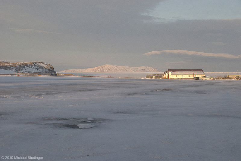 Ramp and runway at Thule Air Base during early morning hours before takeoff to science flight number five of Operation IceBridge.