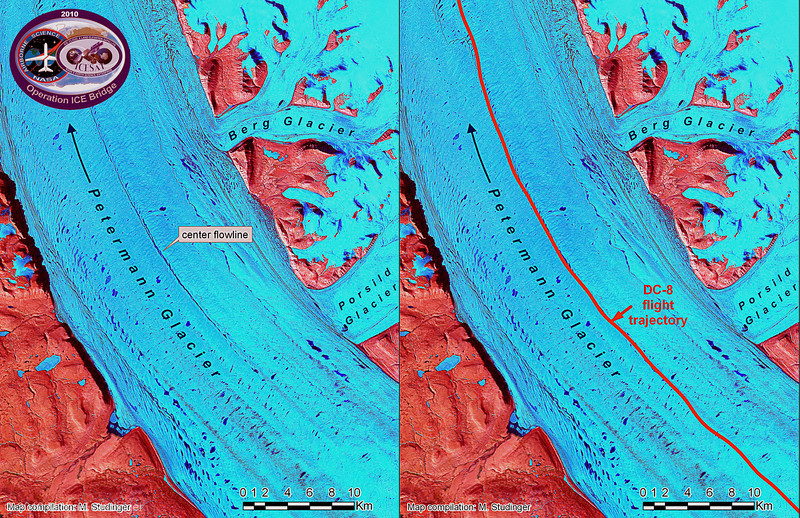Left: Landsat 7 falsecolor image of Petermann Glacier in northern Greenland. The center flowline of the glacier is clearly visible because of the blue meltwater ponds that form on the surface during the Arctic Summer. Right: flight trajectory, in red, of Operation IceBridge mission over Petermann Glacier. The trajectory is precisely located over the center flowline of the glacier.