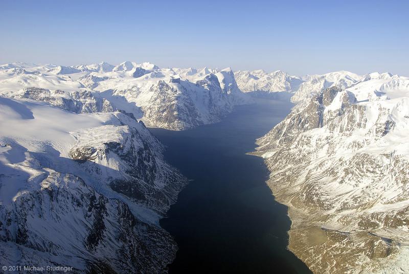 Kangerlussuaq Fiord near Sukkertoppen Isflade in western Greenland.