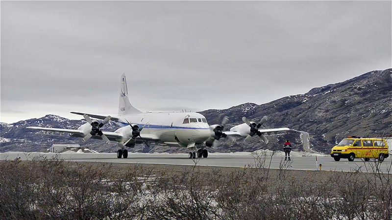 The P-3 taking off from Kangerlussuaq, Greenland for aircraft maintenance at Wallops.