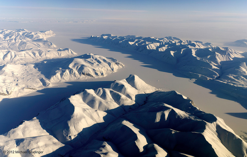 John Richardson Bay and Darling Peninsula on Ellesmere Island in Nunavut, Canada. The Nares Strait and Greenland can be seen in the background.
