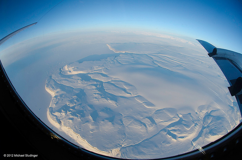 Early morning over northwest Greenland. We are on route to a sea ice mission to the North Pole.