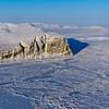 Sea ice along the coast of Ellesmere Island in Nunavut, Canada.