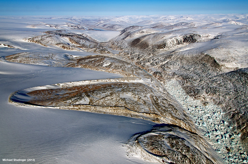 Horseshoe-shaped lateral moraines at the margin of the Penny Ice Cap on Baffin Island, Nunavut.