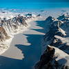 Ice covered fjord on Baffin Island with Davis Strait in the back.