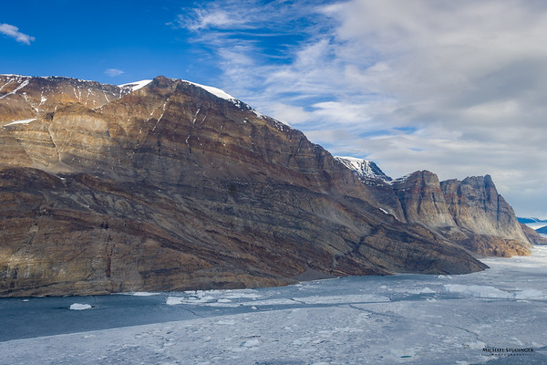 Flying along Karrat Fjord in Greenland to collect data over Rink Glacier