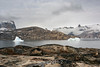 View over O Fjord towards Renland and Grundtvigskirchen from NE Milne Land, Scoresby Sund, Greenland