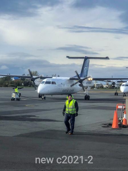 Icelandic air flight taxiing at Reykyavik domestic terminal, Iceland