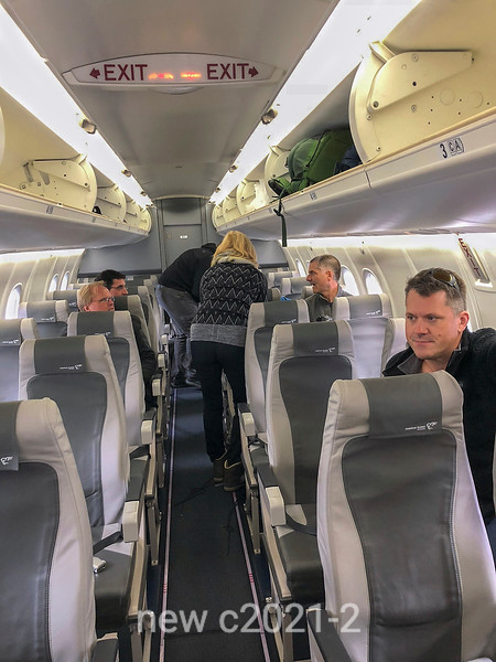 Inside the charter flight to Constable Point, Greenland
