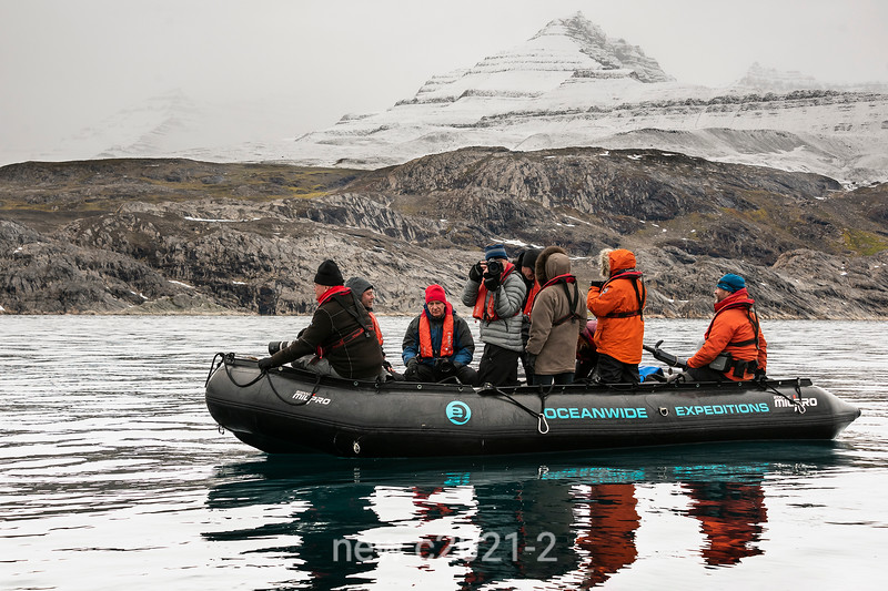 Zodiac cruise off Denmark Island and Geikie Plateau, East Greenland