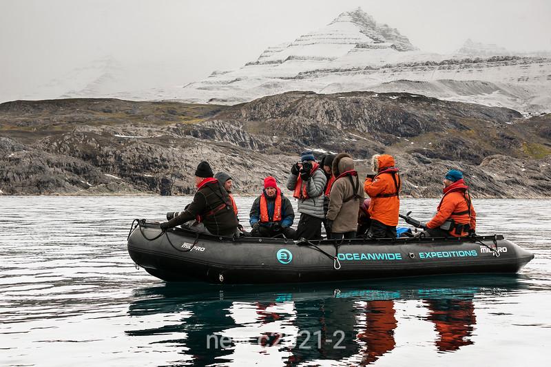 Zodiac cruise off Denmark Island and Geikie Plateau, East Greenland