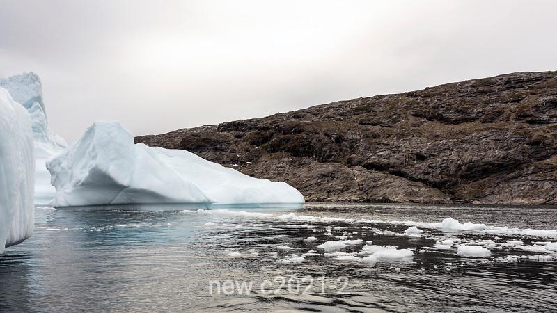 Grounded iceberga and bergy bits, Denmark Island, Scoresby Sund, Greenland