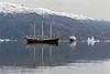 MV Plancius rendevousing with Rembrandt van Rijn, Cape Hofmann Halvo, Scoresby Sund, Greenland