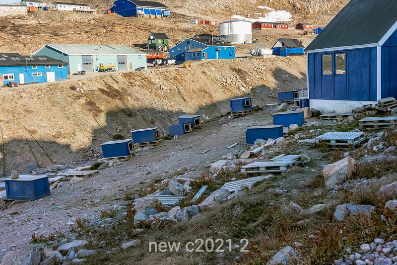 Ittoqqortoormiit village with dog houses, Liverpool Land, Scoresby Sund, Greenland