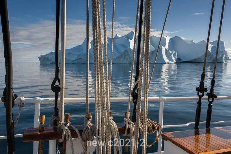Rembrandt van Rijn crusing by a sculptured iceberg, Hall Breding, Scoresby Sund, Greenland