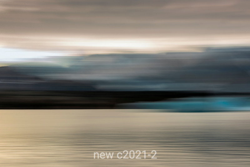 In camera zoom, sea, icebergs, moulntains and sky, Scoresby Sund, Greenland