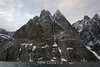 Steep cliffs plunging into O Fjord, Scoresby Sund, Greenland