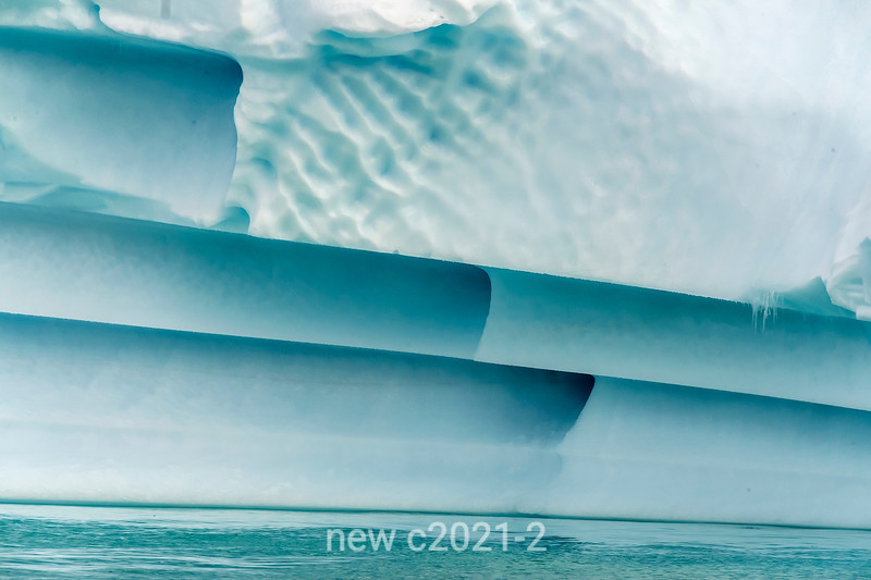 Water sculpted blue ice, Rypefjord, Scoresby Sund, Greenland