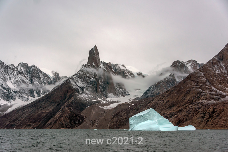Grundtvigskirchen from O Fjord with iceberg and glacier, Scoresby Sund, Greenland - Copy