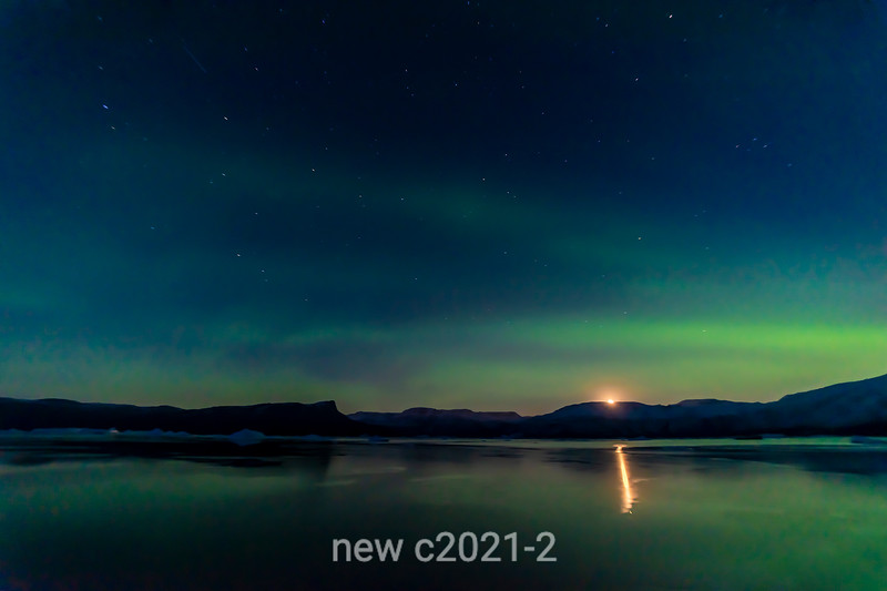Moorrise with northern lights, Rodefjord, Scoresby Sund, East Greenland