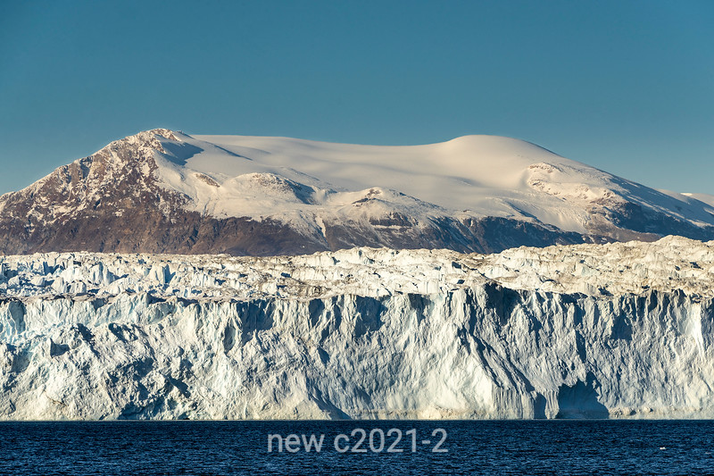 Icefields and Rolige Brae Glacier terminus on Rodefjord, Scoresby Sund, East Greenland